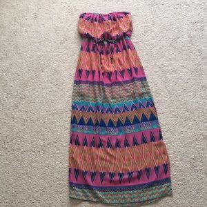 Macy's tribal print maxi dress